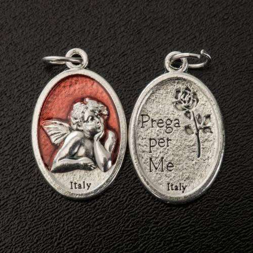 Medaglia Angelo ovale metallo smaltato h 20 mm rosso s2