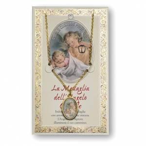 Medaglie: Medaglia Catenina Cartoncino Angelo Custode Angelo di Dio ITA