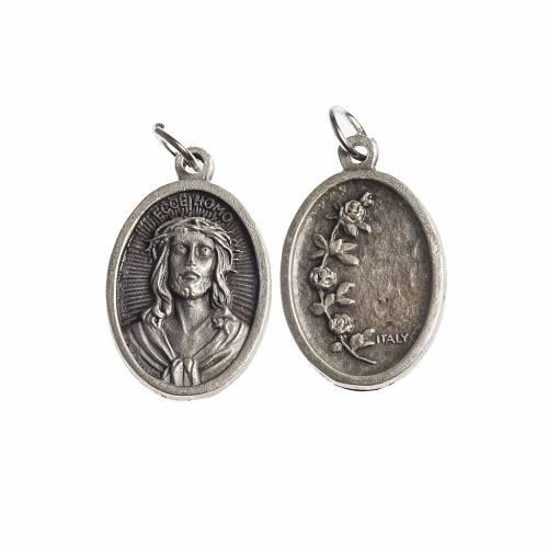 Medaglia Ecce Homo ovale galvanica argento antico s1