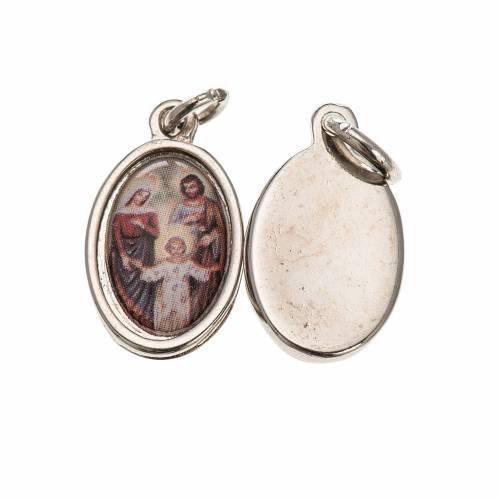 Medaglia Sacra Famiglia metallo argentato resina 1,5x1 cm s1