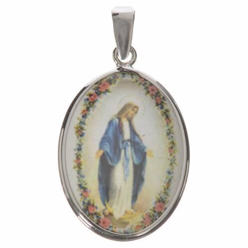 Médaille ovale argent 27mm Vierge Miraculeuse s1