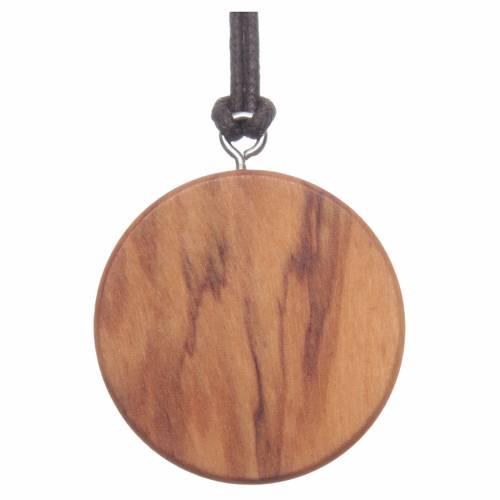 Médaille ronde bois d'olivier image Jésus s2