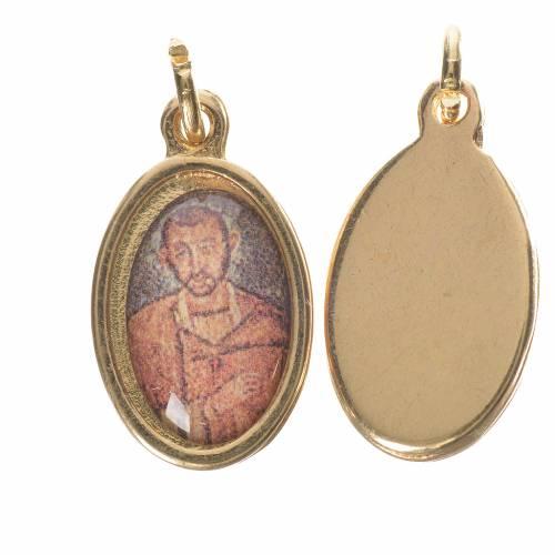 Médaille Saint Ambroise métal doré 1,5cm s1