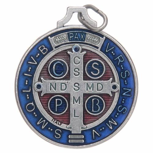 Médaille St Benoit zamac argenté et émail s2