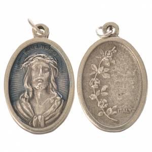 Medal, Ecce homo oval shaped galvanic silver light blue enamel s1