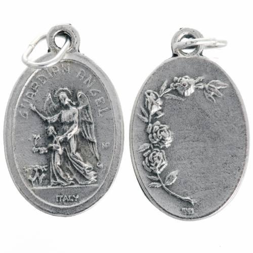 Medalla Ángel de la Guardia ovalado en metal oxidado 20mm s1