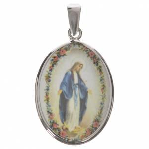 Colgantes, cruces y broches: Medalla ovalada de plata, 27mm Nuestra Señora Milagrosa