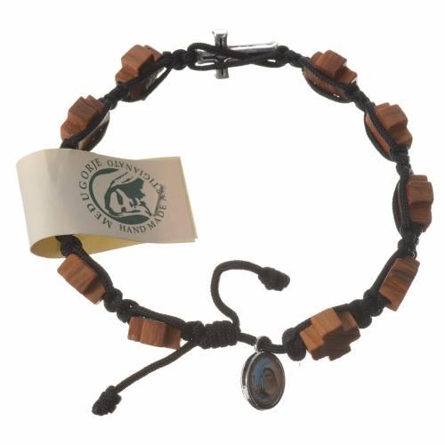 Medjugorje Bracelet, olive heart shaped grains brown cord s1