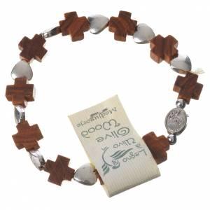 Medjugorje elastic bracelet, olive wood cross grains, metal hear s2