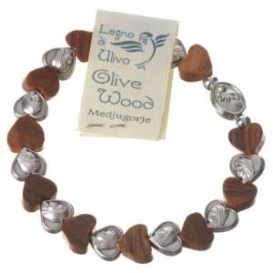 Medjugorje elastic bracelet, olive wood heart grains, metal s2