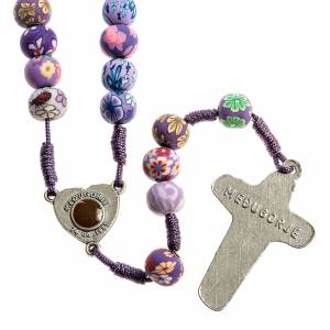 Rosaries and rosary holders: Medjugorje rosary in fimo, purple