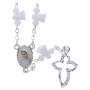 Rosaries and rosary holders: Medjugorje Rosary necklace with white ceramic roses and icon of Our Lady