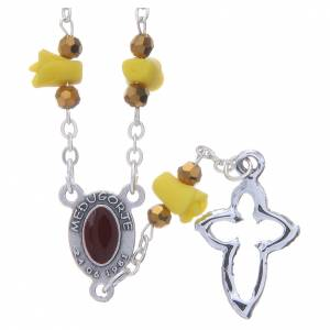 Rosaries and rosary holders: Medjugorje Rosary necklace with yellow ceramic roses and icon of Our Lady