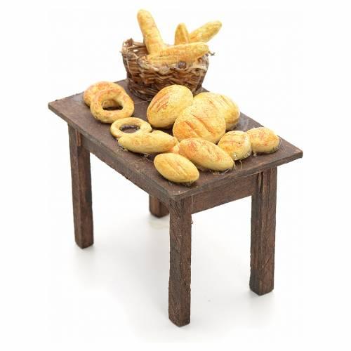 Mesa con panes y cestas pesebre napolitano 12cm s2