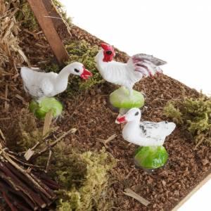Animaux pour la crèche: Meule avec poulets, milieu crèche noël