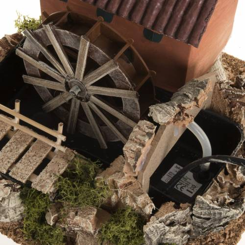 Mini moulin à eau et maison crèche Noel 24x29x29 s6
