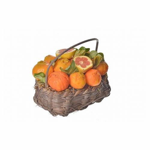 Mini panier oranges en cire pour crèche 10x7x8cm s2