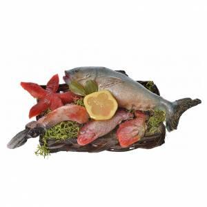 Mini panier poissons et étoile de mer cire crèche 10x7x8cm s1