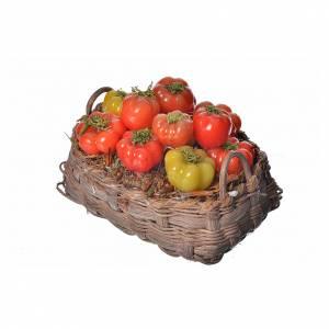 Mini panier tomates en cire pour crèche 10x7x8cm s3