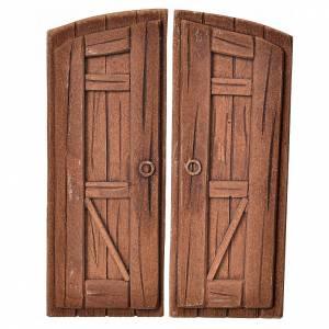 Mini porte double battant en plâtre couleur bois crèche s1