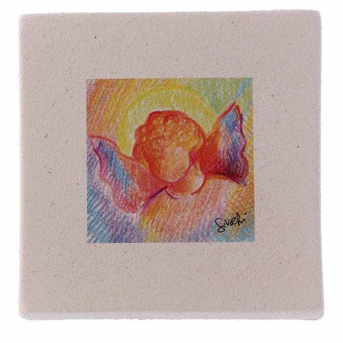 Miniatura di Natale Angelo colorato creta 10X10 cm s1
