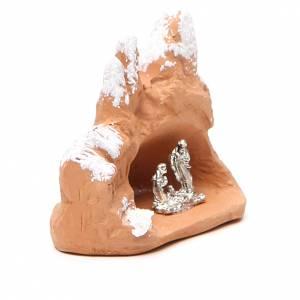 Miniature Nativity in terracotta with snow 7x7x4,5cm s3