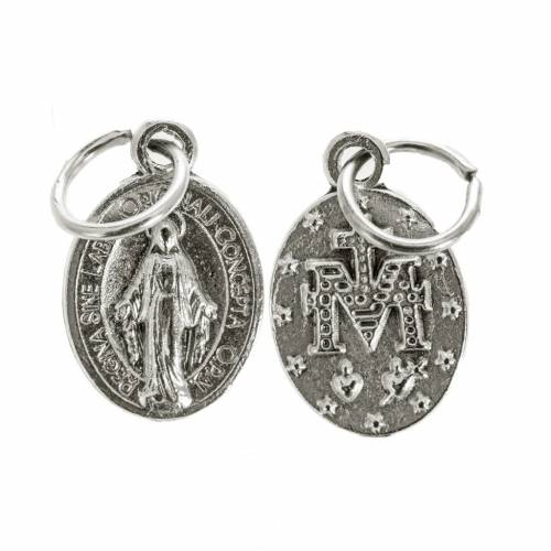 Miraculous Medal, oval shaped in silver metal 12mm s1
