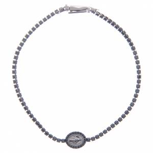 Gold and silver bracelets: Miraculous medal tennis bracelet with black zircons, Amen