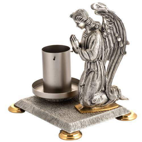 Modern Paschal Candle Holder in bronze with angel s2