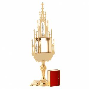 Monstrance, Gothic style in cast brass H51cm s5