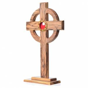Monstrances, reliquaries in olive wood: Monstrance H29cm in olive wood, octagonal display in 800 silver