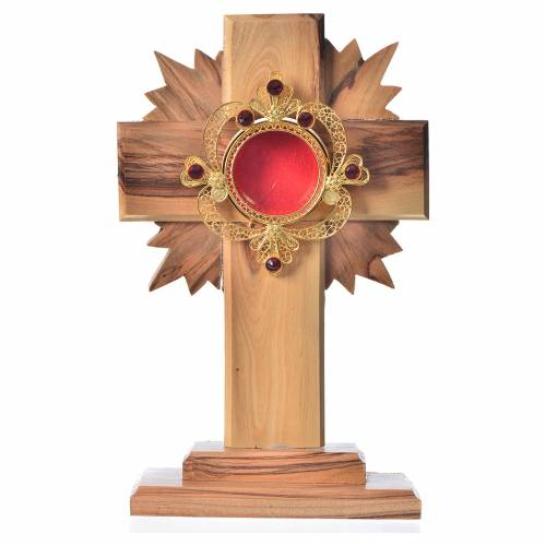 Monstrance in olive wood with rays H15cm, display 800 silver sto s1