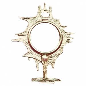 Monstrance shrine gold-plated brass 19cm s1
