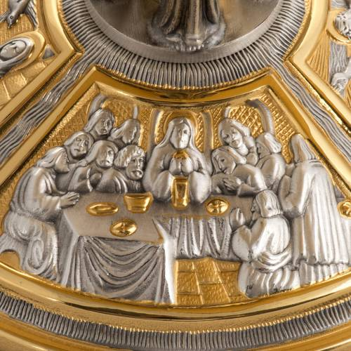 Monstrance throne in brass with images on foot s5