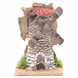 Moulin à vent crèche en terre cuite 20x13x13 cm s1
