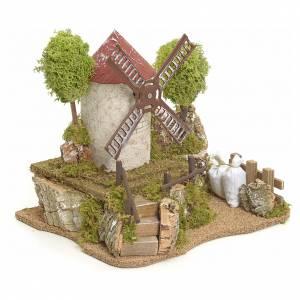 Moulin à vent électrique avec arbres décor de crèche s2