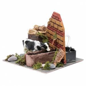 Presepe Napoletano: Mucca in movimento fontana con pompa presepe di Napoli 12 cm