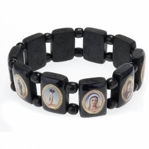 Multi-image black wood bracelet with Virgin Lady s1