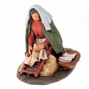 Terracotta Nativity Scene figurines from Deruta: Naitivity set accessory, Washerwoman clay figurine