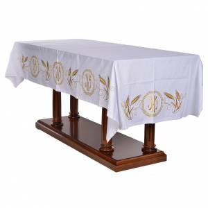 Nappe d'autel décor doré épis et symbole IHS s3