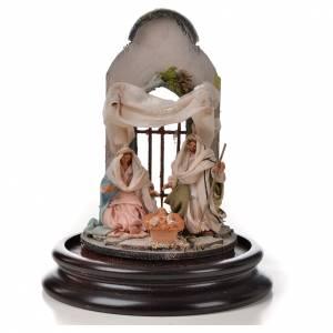 Natività Napoli terracotta stile arabo 11X16 cm campana di vetr s2
