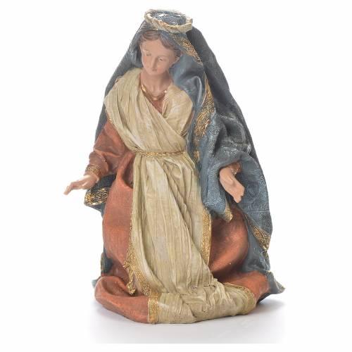 Nativité 33 cm résine vêtements beiges s2