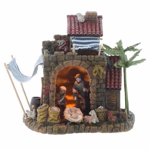 Nativité avec grotte lumières musique 19,5 cm résine s1