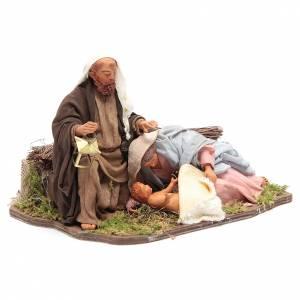 Nativité couchée 24 cm mouvement crèche napolitaine s3