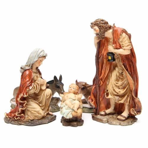 Nativité en résine 32 cm soft color 5 santons s1