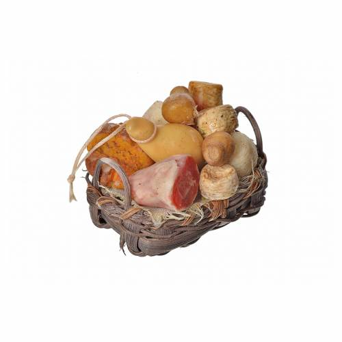Nativity accessory, bread and cold meat basket in wax, 4.5x5.5x6 s2