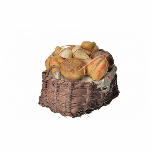 Nativity accessory, cheese basket in wax, 10x7x8cm s2