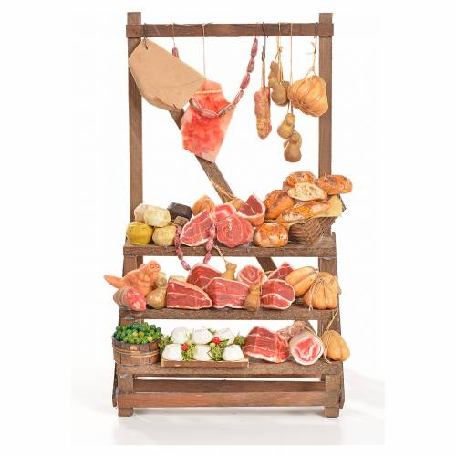 Nativity accessory, cold meat seller's stall 20x22x40cm s1