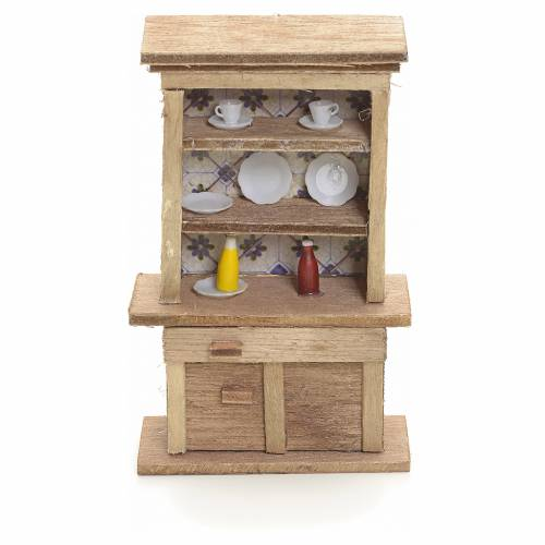 Nativity accessory, cupboard with plates and accessories s1