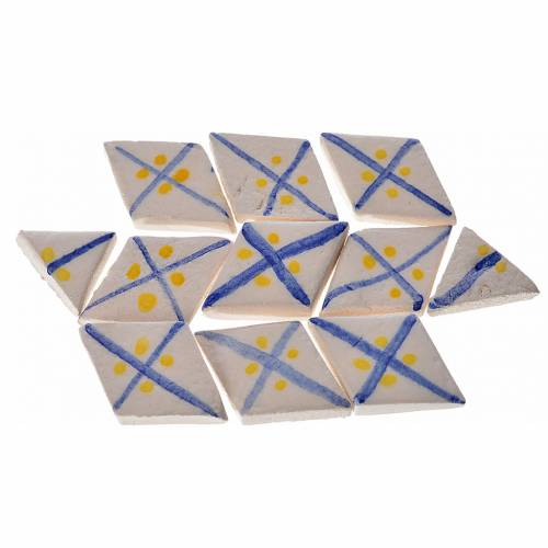 Nativity accessory, enamelled terracotta tiles, 60pcs, diamond, s1